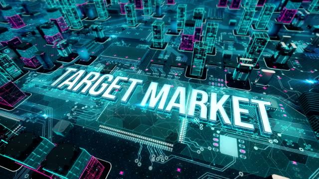 zielmarkt mit digitaler technologie-konzept - zielscheibe stock-videos und b-roll-filmmaterial