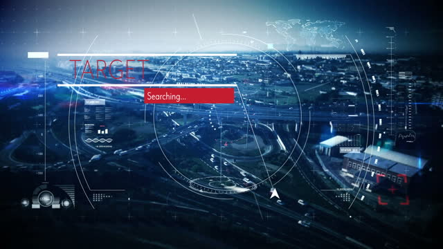 Target searching text and scope scanning over cityscape