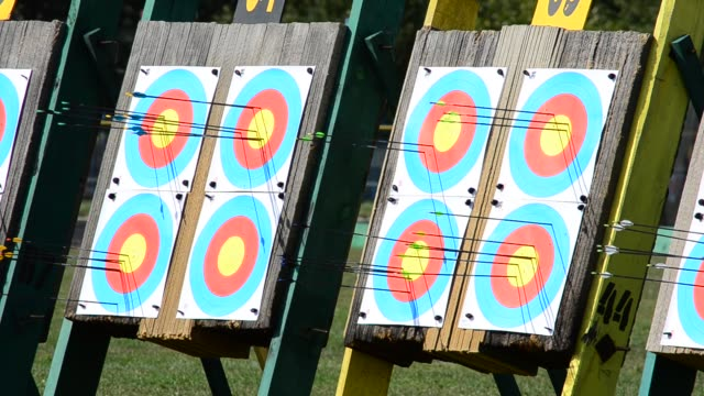 Targets for archery. Shooting in the summer. video