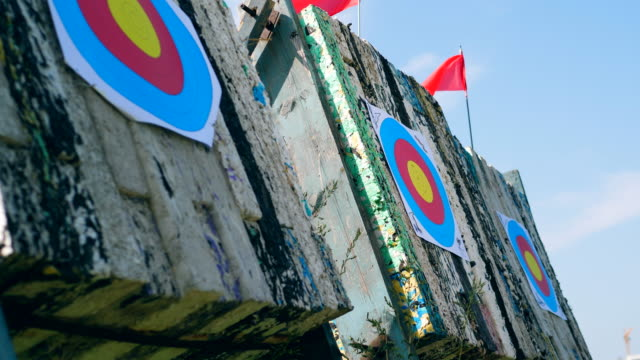 Targets with arrows at a shooting range.