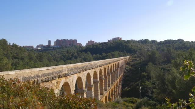 tarragona puente del diablo bridge panoramic view 4k video