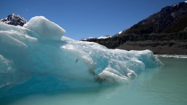 Glaciar de Tasman en Parque Nacional de Aoraki Mt Cook, Nueva Zelanda. - vídeo
