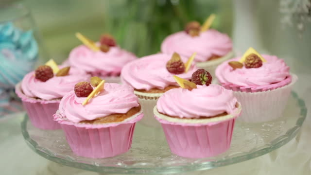 tasty fresh raspberry cake. pastry with cream protein. close-up video