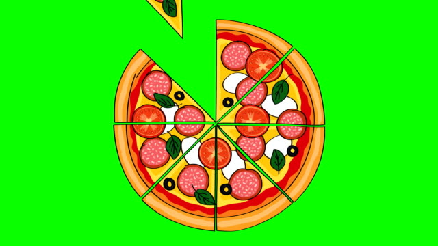 Tasty looking illustrated sliced salami pizza with tomatos, mozzarella, olives and basil. Animation of disappearing slices on chroma key green screen background.