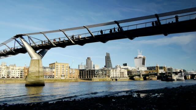 Tate Modern bridge and City of London. video