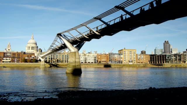Tate Modern bridge and Saint Paul's, London. video