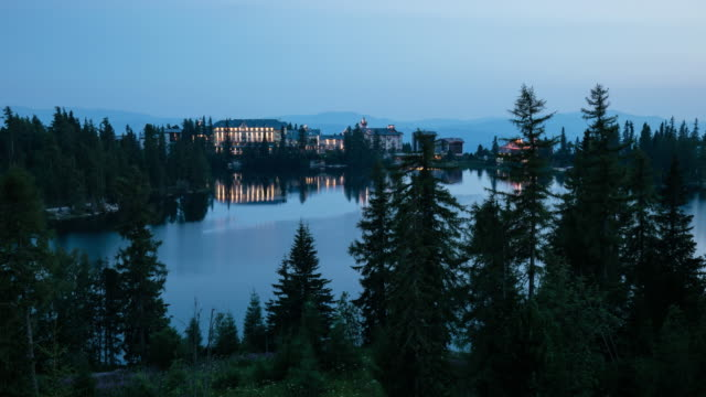 Tatras at night over Strbske pleso - lake, Slovakia, Time lapse video