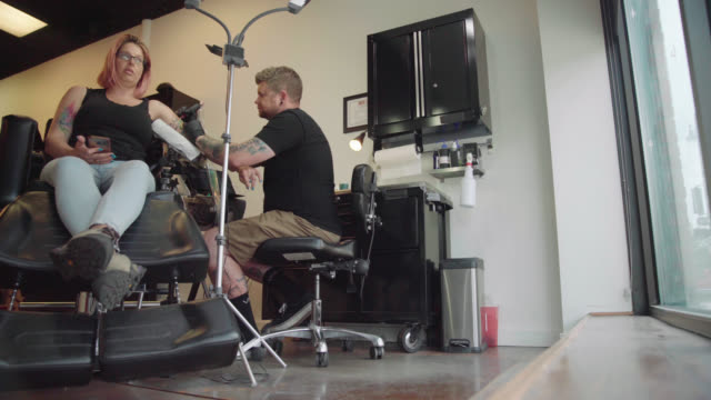 Tattoo Studio - Low Angle Shot video