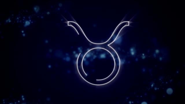 Taurus zodiac sign on purple