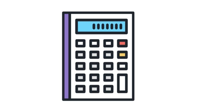 tax calculation​‎ flat line icon animation with alpha - bills and taxes stock videos & royalty-free footage