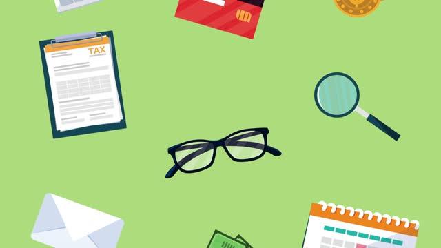 animacja dnia podatkowego ze wzorem ikon finansowych - data filmów i materiałów b-roll