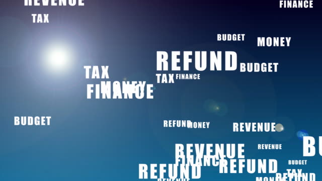 1040 tax refund form with words popping up over it - tax day