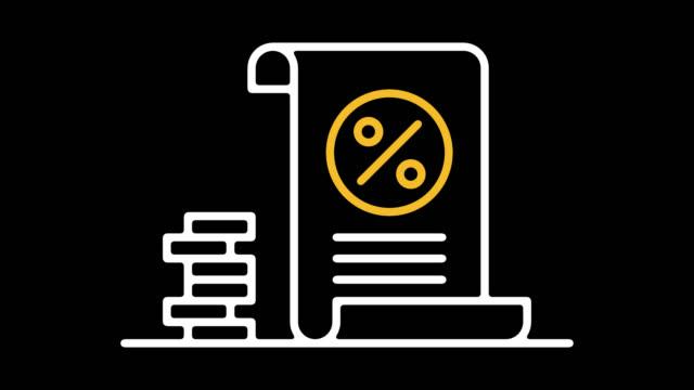 tax return calculator line icon animation with alpha - indennità video stock e b–roll
