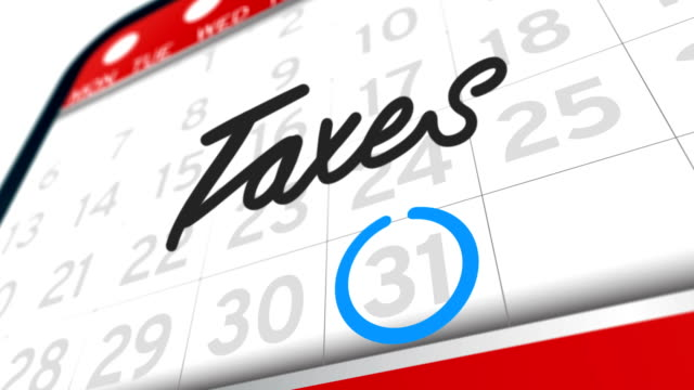Taxes important day calendar concept The big Tax Day, the 31st , is circled on a white calendar with a blue marker. Ultra High Definition 4K animation video. april stock videos & royalty-free footage