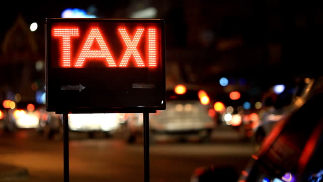 Taxi and city lights in Bangkok Thailand video