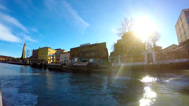 Taxi boat in the venetian lagoon video