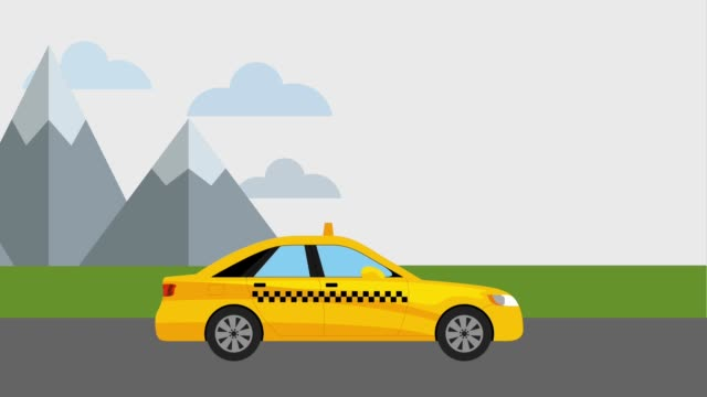 taxi cab in road mountains - clip art video stock e b–roll