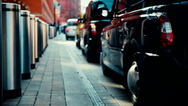 Taxi cabs queue in London video