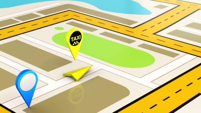 stockvideo's en b-roll-footage met taxi service en pointer kaart locatie video animatie - roadmap