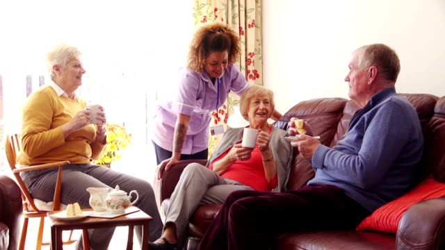 tea and cake in the care home - senior care stock videos and b-roll footage
