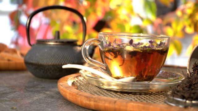 tea break on a cafe - bevanda calda video stock e b–roll