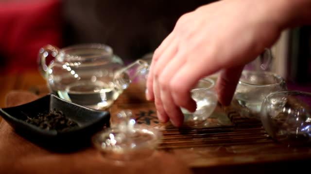 Tea ceremony in cafe video