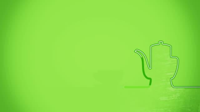 vídeos de stock e filmes b-roll de chávena de chá no bule de chá plana animação da forma - coffee table