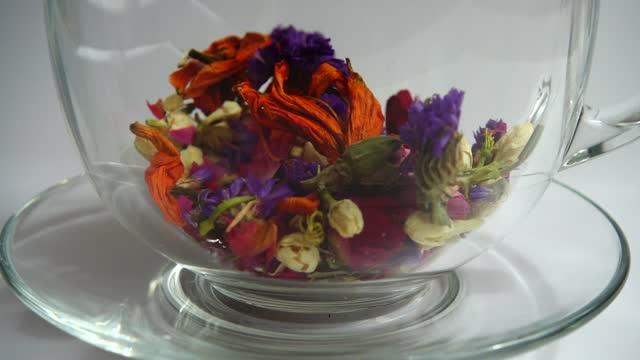 Tea from arid petals Myosotis flowers, tea rose, lily, Jasmine flowers, carnation. video