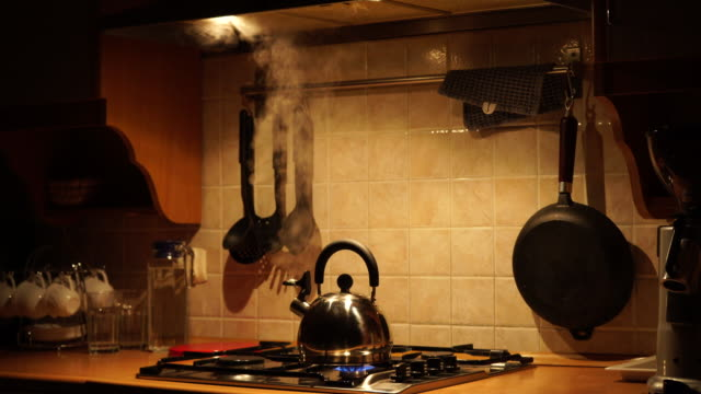 tea kettle with boiling water 4k - teapot stock videos & royalty-free footage