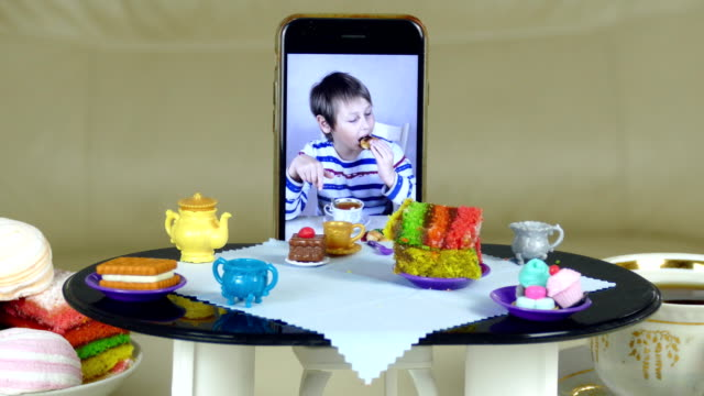 tea party at the doll table with a video call video