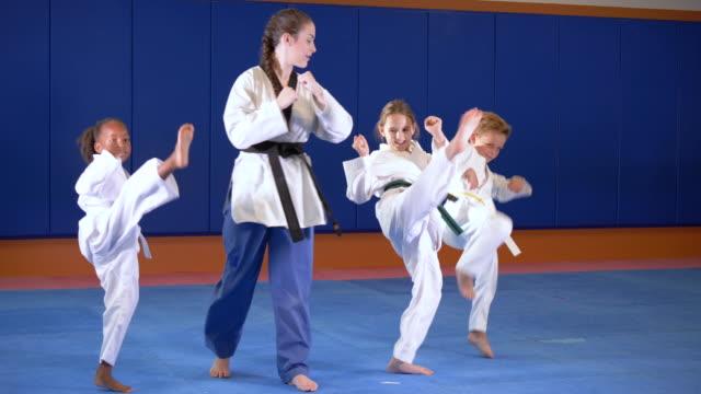 vídeos de stock, filmes e b-roll de professor e crianças na aula de taekwondo, chutando - artes marciais