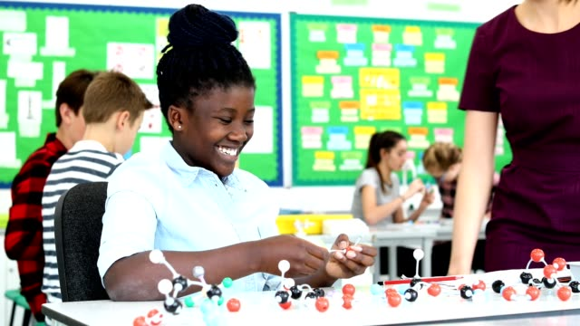 Teacher And Pupil Using Molecular Model Kit In Science Lesson Girl with female tutor in science lesson using model to study molecular science middle school teacher stock videos & royalty-free footage
