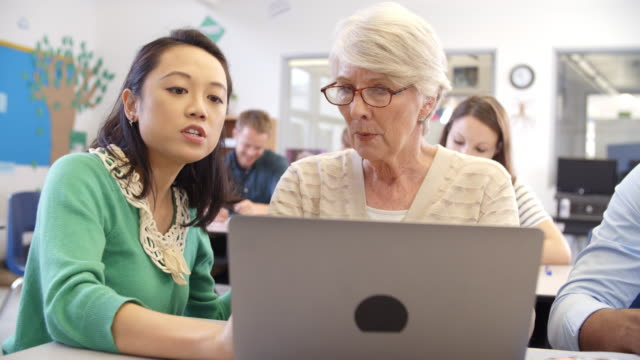 Teacher and senior pupil use laptop in adult education class Teacher and senior pupil use laptop in adult education class adult education stock videos & royalty-free footage
