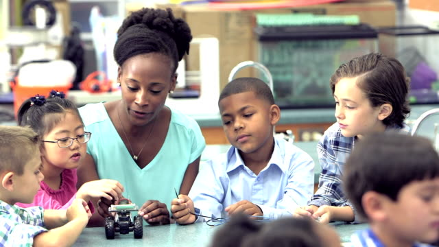 Teacher and students in elementary school science lab video
