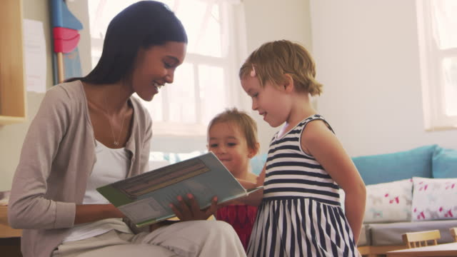 Teacher At Montessori School Reading To Children At Story Time video