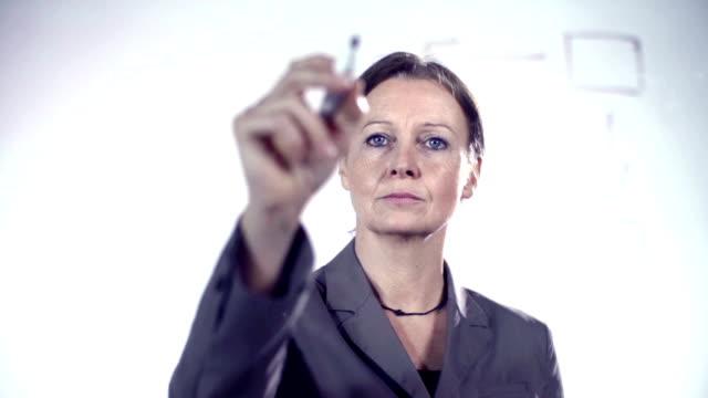 teacher, female business professor drawing flow chart on glass video