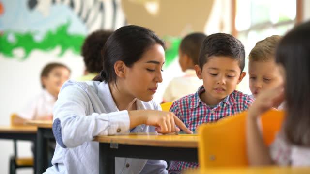 Teacher helping a student understand the task