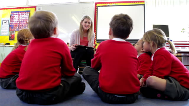 Teacher Reading Story To Elementary School Pupils video