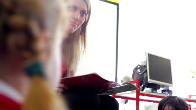 Teacher Reading Story To Elementary School Pupils video