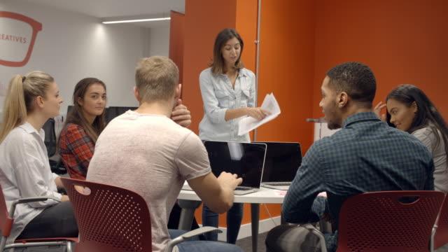 Teacher Talking To College Students In Media Studies Class video