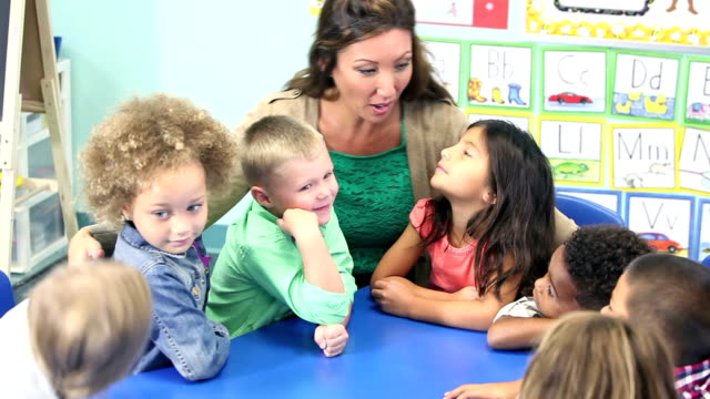 teacher talking with her class of young school children - kindergarten стоковые видео и кадры b-roll