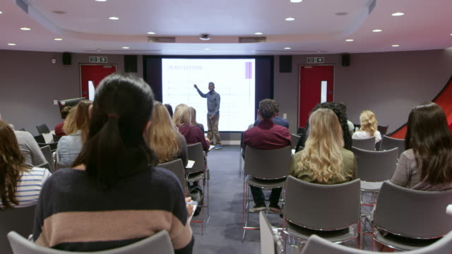Teacher using an AV screen in a university classroom, shot on R3D video