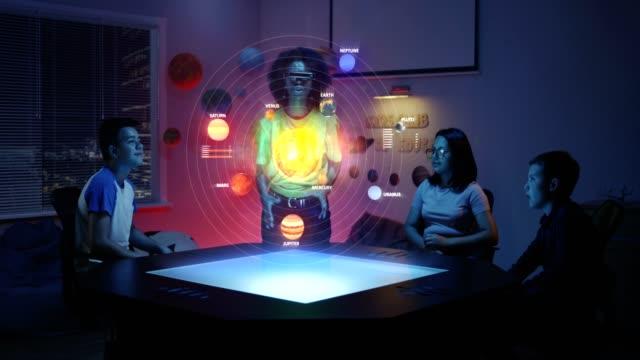 sınıfta güneş sistemi hologramı kullanan öğretmen - sanal gerçeklik stok videoları ve detay görüntü çekimi