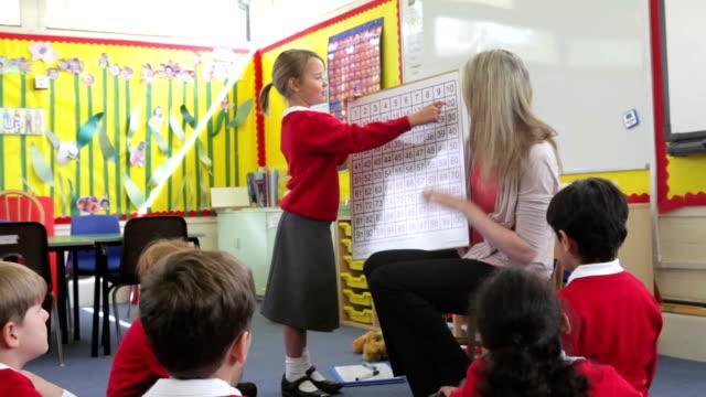 Los profesores y alumnos de escuela primaria en clase de matemáticas - vídeo