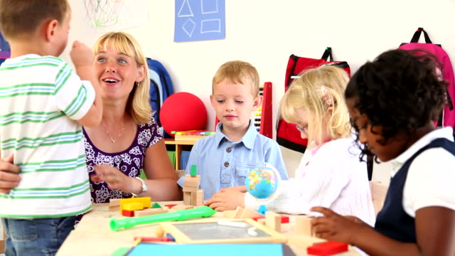 Teacher with preschool kids video