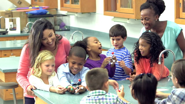 Teachers and students in elementary school science lab video