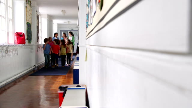 Teachers Walking Children to Class Young casually dressed students walk down a school corridor with three teachers following behind talking. elementary age stock videos & royalty-free footage