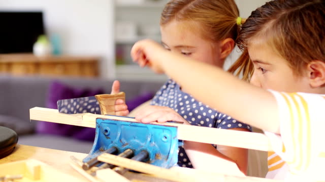 Teaching his little sister woodwork video