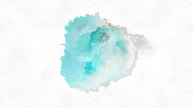 teal paint drop - dipinto ad acquerelli video stock e b–roll