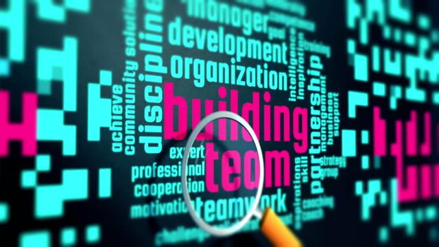 Team building word cloud concept. Motivational marketing words video loop